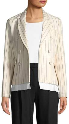 Victoria Beckham Women's Pleated Hem Pinstripe Blazer