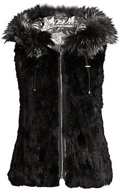 Adrienne Landau Women's Reversible Rabbit & Fox Fur Quilted Metallic Vest