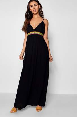 boohoo Petite Trim Waist Woven Strappy Maxi Dress