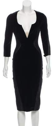 Antonio Berardi Velvet-Paneled Midi Dress