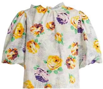 MSGM Printed Cotton Poplin Shirt - Womens - White Multi