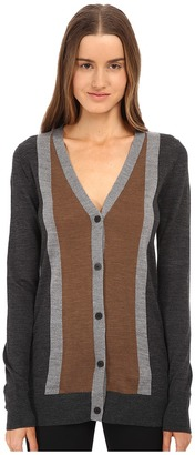 Vera Wang Merino Wool Cardigan w/ Stripes $595 thestylecure.com