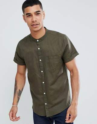Pull&Bear short sleeved grandad collar shirt in khaki