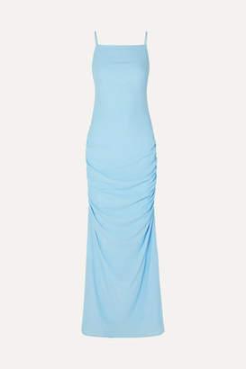 STAUD Parrot Cutout Ruched Crepe De Chine Maxi Dress - Blue