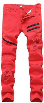 DSDZ Fashion Mens Slim Fit Hip Hop Ripped Jeans with Zippers 28