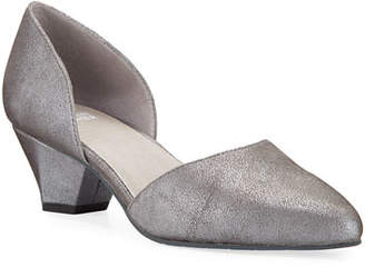 Eileen Fisher Rumi Low-Heel Metallic Suede Pumps