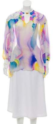 Vionnet Long Sleeve Watercolor Print Top