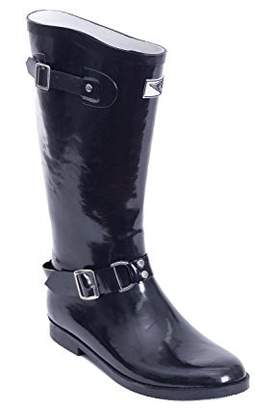 Forever Young Women's Tall Rubber Rain Boots Black Rider Design