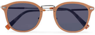 Ermenegildo Zegna D-Frame Leather And Silver-Tone Sunglasses