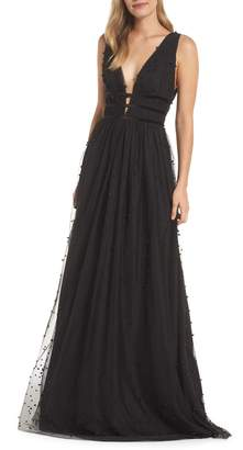 ML Monique Lhuillier Beaded Mesh Gown