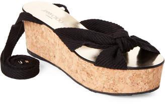 6859a969f59 Jimmy Choo Black Norah Ankle-Wrap Platform Sandals