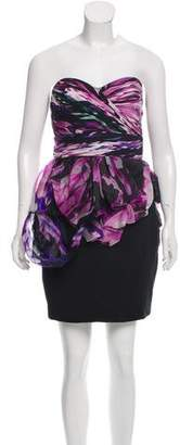 Marchesa Digital Print Strapless Dress