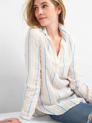 Gap Boyfriend Popover Tunic Shirt in Linen