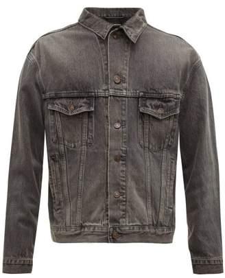 Balenciaga Logo Print Cotton Denim Jacket - Mens - Grey