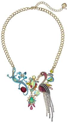 Betsey Johnson Colorful Stone and Critter Bib Necklace Necklace