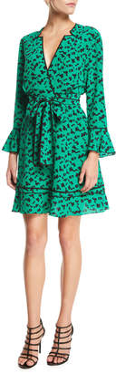 Tanya Taylor Nomi Printed Long-Sleeve Silk Short Dress