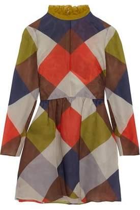 Valentino Printed Silk-Organza Mini Dress
