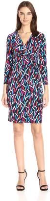 Anne Klein Women's Matchsticks Print Faux Wrap Dress