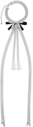 Miu Miu Silver Crystals and Bows Necklace