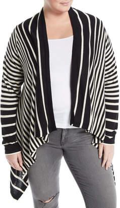 NYDJ Plus Andre Striped Cascading Cardigan, Plus Size