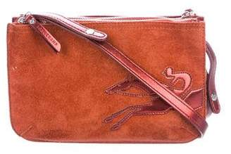 Longchamp Leather-Trimmed Suede Crossbody