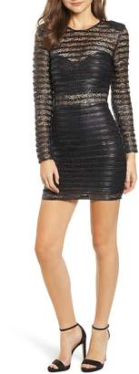 Elliatt Cyanite Faux Leather & Lace Illusion Dress