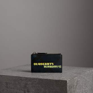 Burberry Logo Print London Check Zip Card Case