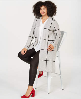 Charter Club Plus Size Pure Cashmere Windowpane Sweater Coat