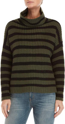 Le Mont St Michel Olive & Black Striped High Neck Sweater