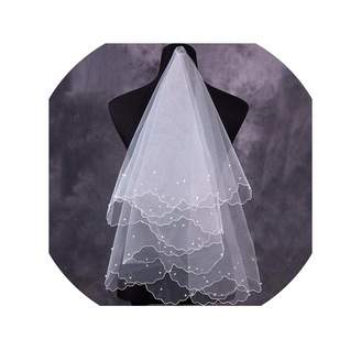 Chibi-store bridal-veils Women Pearl Bridal Veils Wedding Dress Veil Layers Tulle Ribbon Edge Wedding Accessories