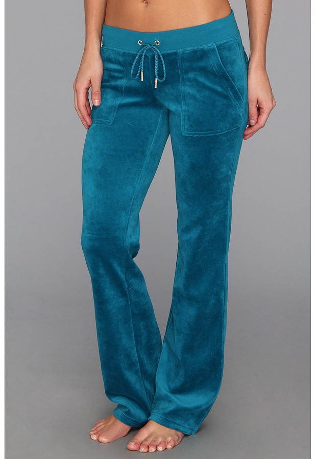 Juicy Couture Velour Bling Bootcut Pant (Jade) - Apparel
