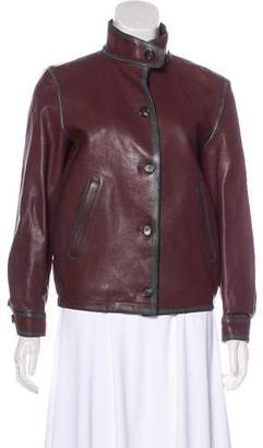 Prada Leather Button-Up Jacket