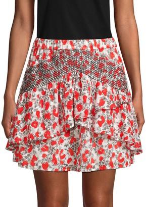 IRO Printed Ruffled Mini Skirt