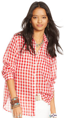 Ralph Lauren Denim & Supply Plaid Cotton Gauze Shirt $69.50 thestylecure.com