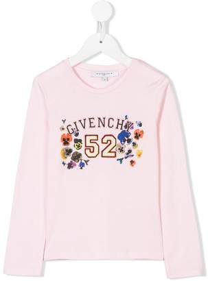 Givenchy Kids logo poppy print top