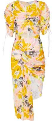 Alice McCall Asymmetric Cutout Floral-Print Silk Dress