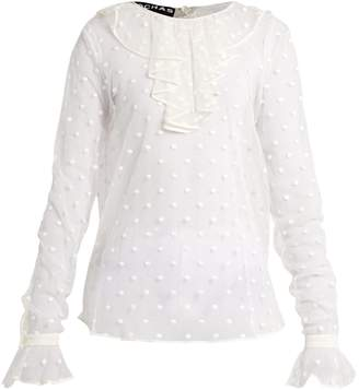 Rochas Polka-dot embroidered tulle blouse