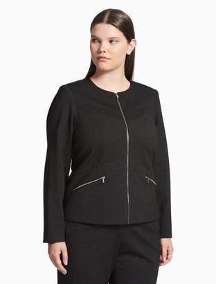 Calvin Klein plus size seamed zip front jacket