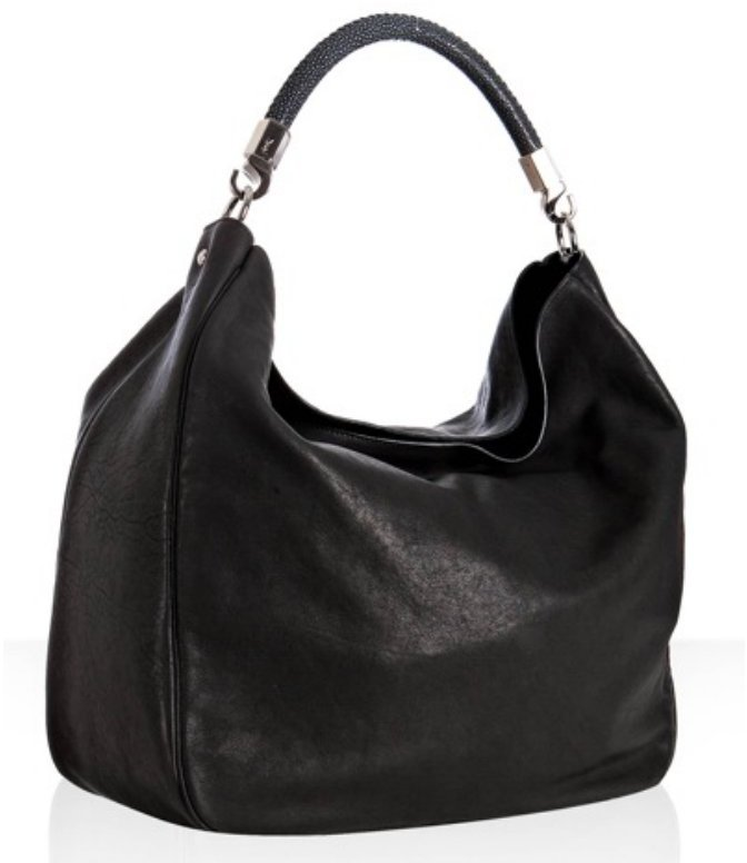 Yves Saint Laurent black leather 'The Roady' stingray handle large hobo