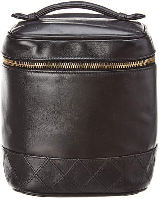 Chanel Black Lambskin Leather Vertical Cosmetic Case