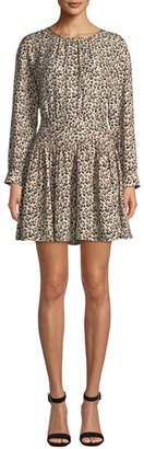 Rebecca Taylor Long-Sleeve Silk Leopard-Print Short Dress