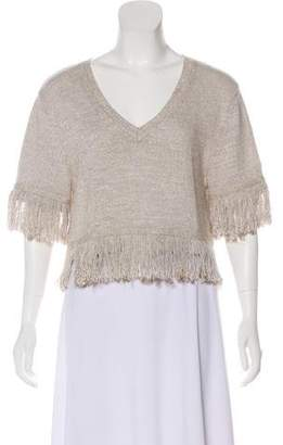 Creatures of Comfort Knit Fringe Crop Top