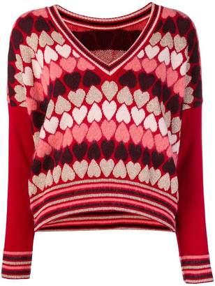 Twin-Set heart v-neck jumper