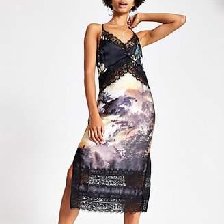 River Island Black print lace midi slip dress