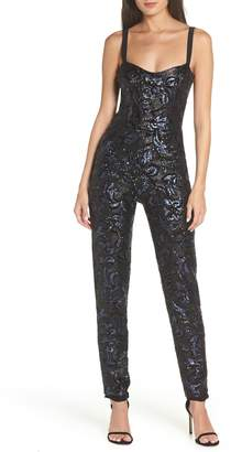 Dress the Population Chloe Sequin Brocade Jumpsuit