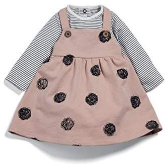 Mamas and Papas Baby Girls' 2 Piece Tee & Spot Pinafore Clothing Set,3-6 Months