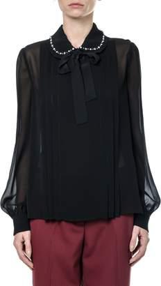 Miu Miu Sablé Shirt And Pearls Embellishment