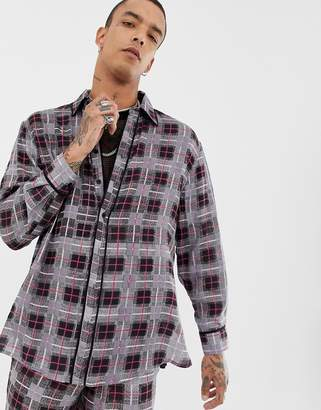 Sacred Hawk oversized shirt in check flannel