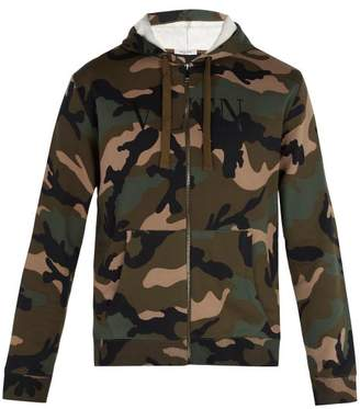 Valentino Camouflage Print Hooded Sweatshirt - Mens - Green