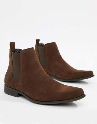 Asos Design DESIGN chelsea boots in brown faux suede